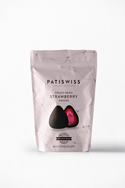 Patiswiss Şekersiz Sütlü Çilek Draje 80 G 1 Adet