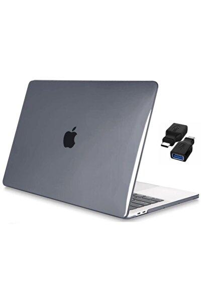 "CODEGEN Apple 13"" Macbook Air A2337 M1 Kristal Gri Kılıf Koruyucu Kapak + Usb Çevirici"