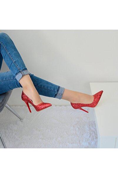 AyakkabıEfendisi Cindy Kırmızı Simli Stiletto