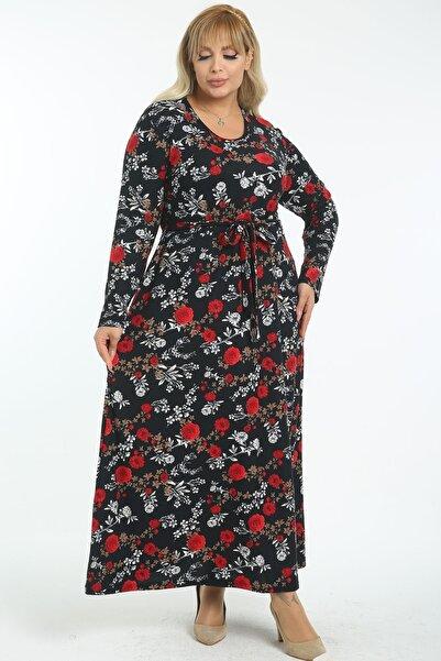 1fazlası Kadın Büyük Beden Kırmızı Bel Kuşaklı Yün Viskon Uzun Elbise