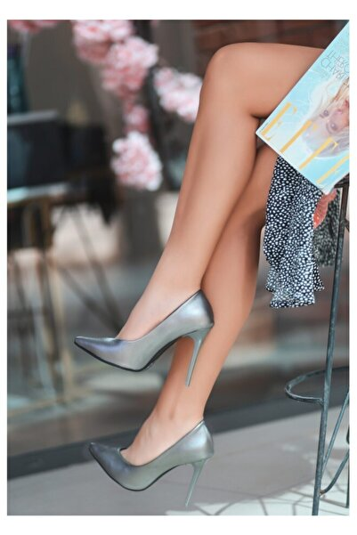 GünKar Nocix Gri Cilt Stiletto Ayakkabı