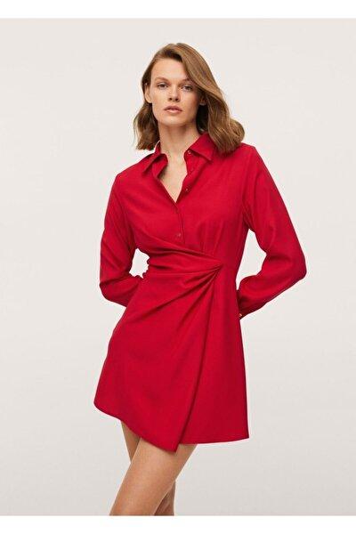 MANGO Woman Kadın Kırmızı Düğüm Detaylı Gömlek Elbise