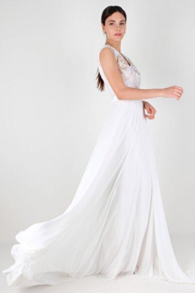 Spazio Kadın Beyaz Boyel Şifon Uzun Abiye Elbise 60096100