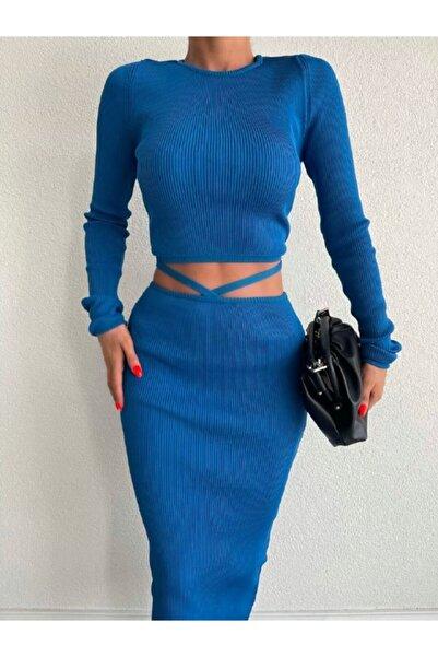 Bynarinkirac Triko Bel Çapraz Detaylı Etek Crop Bluz Takım