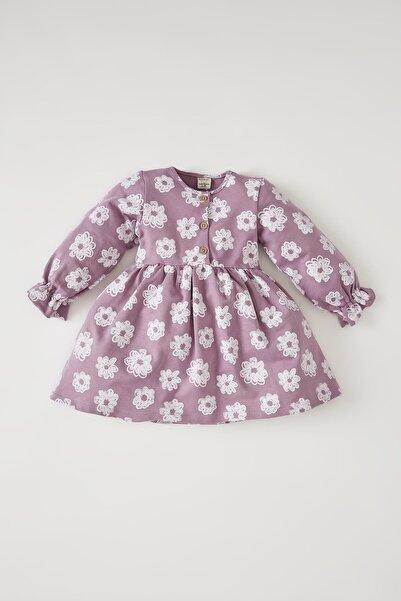 DeFacto Kız Bebek Desenli Uzun Kollu Elbise