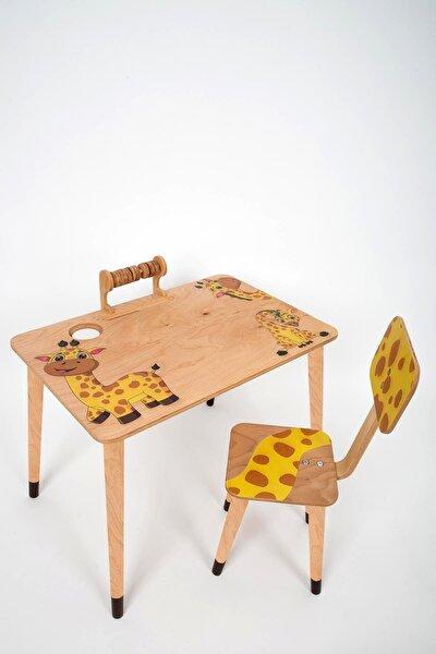 ART AHŞAP Ahşap Zürafa Engin Çocuk Masa Sandalye Takımı Aktivite Masası Çocuk Oyun Masası Çalışma Masası
