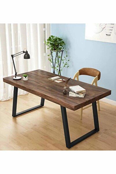 PlusAksesuar Ahşap Masif Ağaç Doğal Çalışma Masası Demir Iskelet Ofis Masası
