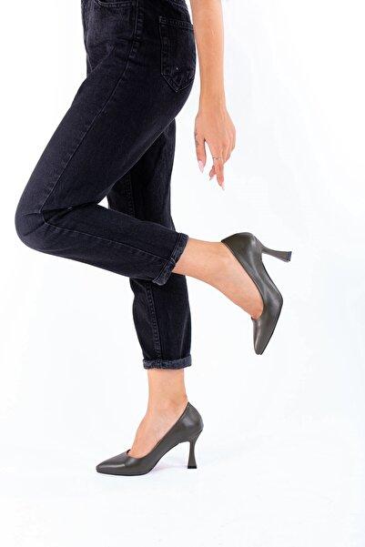Tuğrul Ayakkabı Ökçe Detaylı Yüksek Topuklu Haki Stiletto