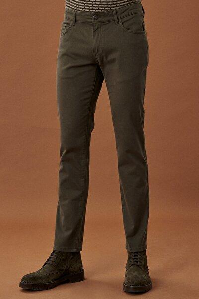 AC&Co / Altınyıldız Classics Erkek Haki Kanvas Slim Fit Dar Kesim 5 Cep Pantolon