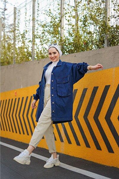 Moda Boliw Kadın Mavi Torba Cep Oversize Ceket