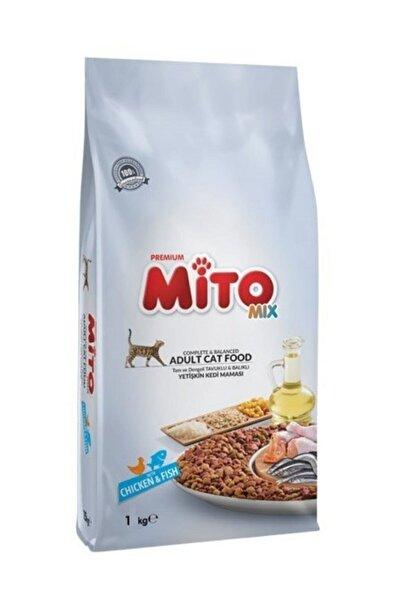 Mito Mix Adult Cat Tavuklu ve Balıklı Renkli Taneli Yetişkin Kedi Maması 1kg