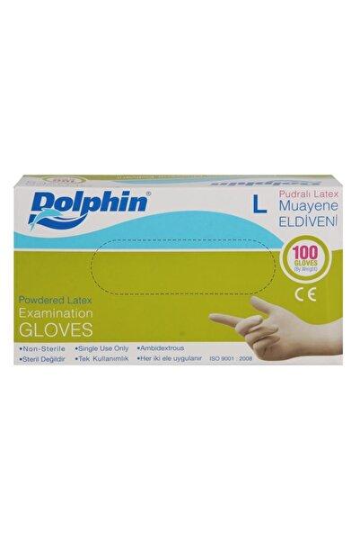 Dolphin Tek Kullanımlık Büyük Pudralı Beyaz Lateks Eldiven 5 Adet 100'lü Paket Large