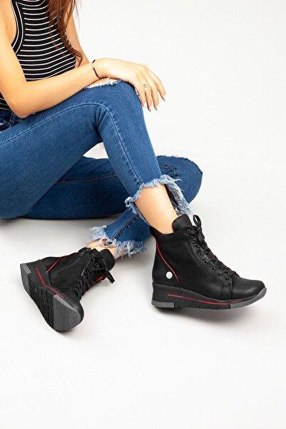 Mammamia Kadın Siyah Hakiki Deri Dolgu Topuklu Bot • A222kdyl0047