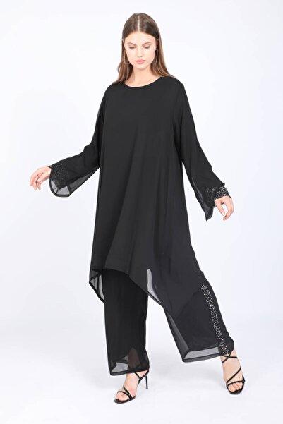 Bluewhite Kadın Büyük Beden Minimal Desenli Pantolon Takım Siyah