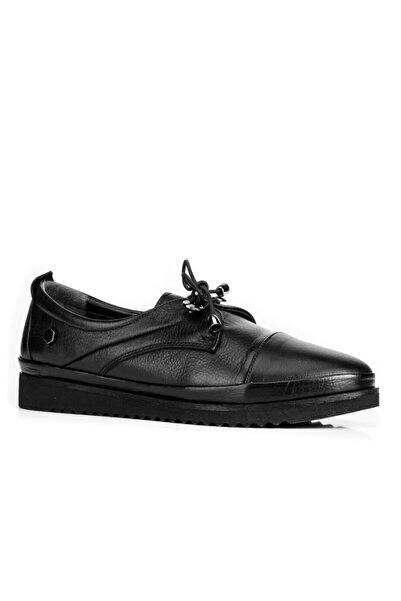 Cabani Kadın Siyah Gerçek Soft Deri Streç Bağcıklı Ayakkabı 99