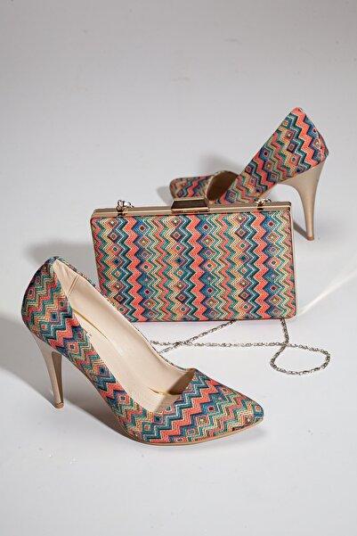 GULT Kadın Ince Yüksek Topuklu Stiletto Ve Çanta Takımı