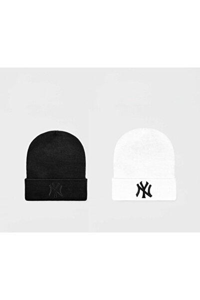 NuxFah Ny New York Siyah Beyaz Bere Ikili Set Unisex