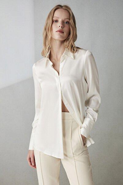 Silk and Cashmere Ipek Audrey Rahat Kesim Uzun Kollu Gömlek
