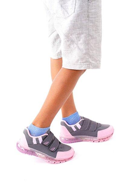 Sportix Çocuk Füme Pembe Ortopedik Taban Cırtlı Sneaker Günlük Spor Ayakkabı