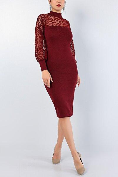 Md1 Collection Kadın Bordo Flok Baskı Nişan Düğün Partı Gece Triko Elbise 76768