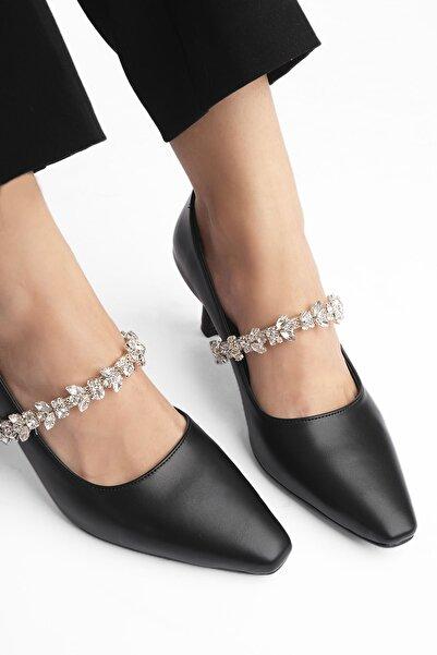 Marjin Kadın Stiletto Taşlı Topuklu Ayakkabı NovilaSiyah