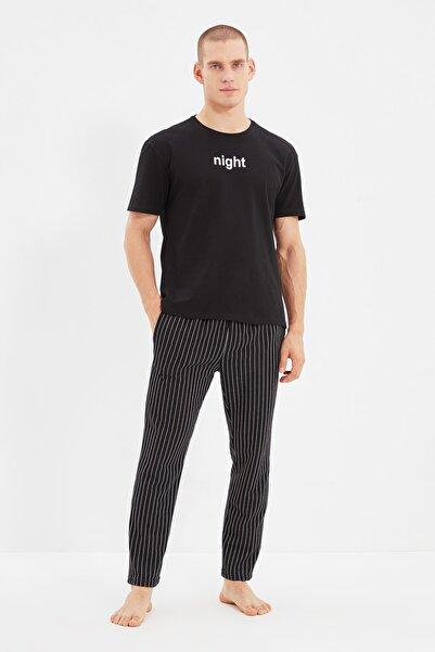 TRENDYOL MAN Siyah Baskılı Örme Pijama Takımı THMAW21PT0393