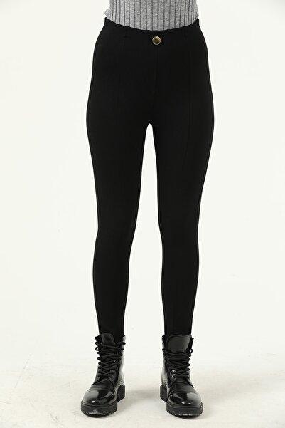 Grenj Fashion Siyah Önü Düğmeli Pileli Yüksek Bel Toparlayıcı Kışlık Pantolon Tayt