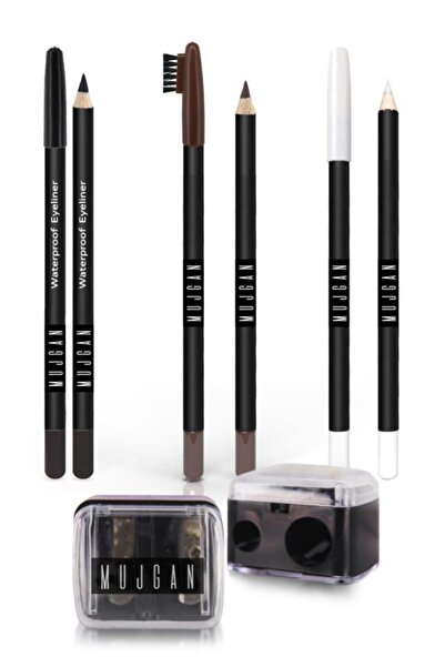 MUJGAN 4'lü Set Siyah Göz Kalemi Beyaz Göz Kalemi Kahverengi Kaş Kalemi Izla Açacak