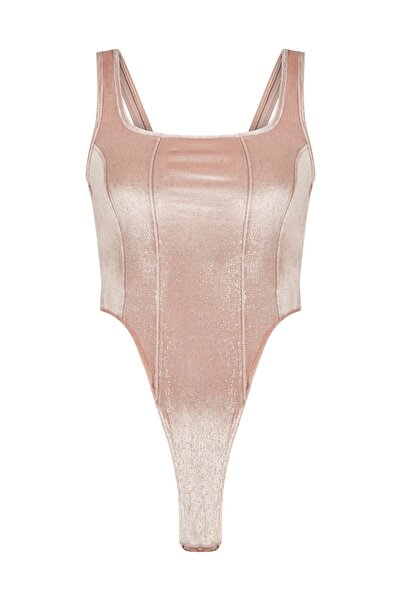 Penti Shiny Square Neck Velvet Bodysuit