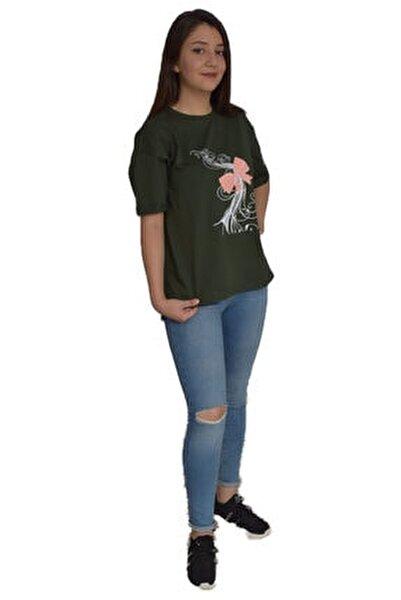 %100 Pamuk Penye Koyu Yeşil Oversize T-shirt