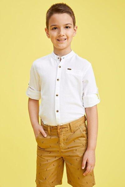 DeFacto Erkek Çocuk Hakim Yaka Kolları Katlanabilir Pamuklu Gömlek