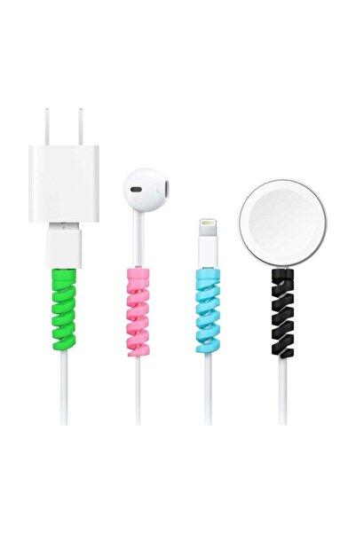 Cimricik Spiral Kablo Koruyucu Silikon Set Şarj Kablosu Kulaklık Kablosu Koruyucu