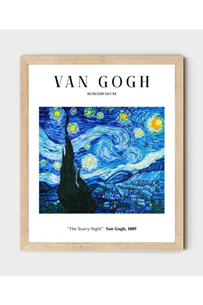 AS TİCARET Ahşap Çerçeveli Tablo Van Gogh Starry Night