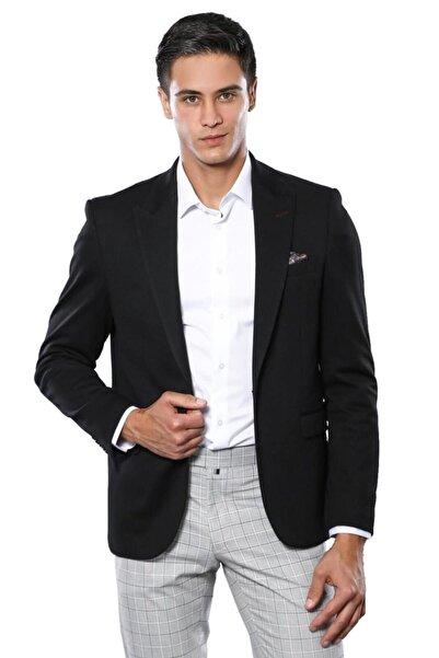 Wessi Düz Hafif Kumaş Siyah Slim Fit Spor Ceket  