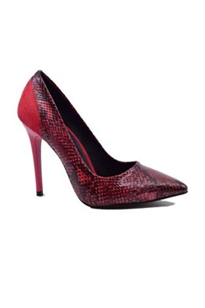 Turuncu Kırmızı Yılan Topuklu Stiletto Ayakkabı