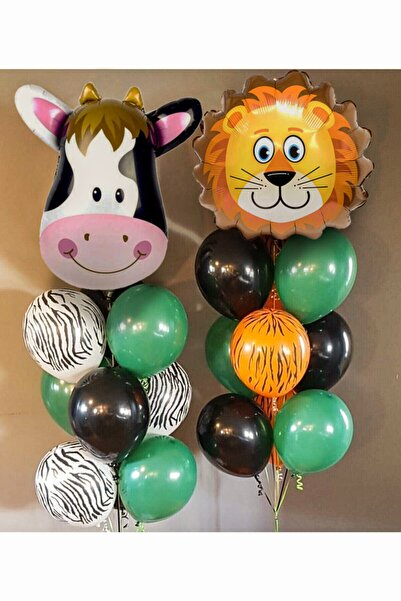 Parti dolabı Safari Konsept Safari Folyo Balon Ve Lateks Ve Metalik Balon Safari Balon Safari Doğum Günü