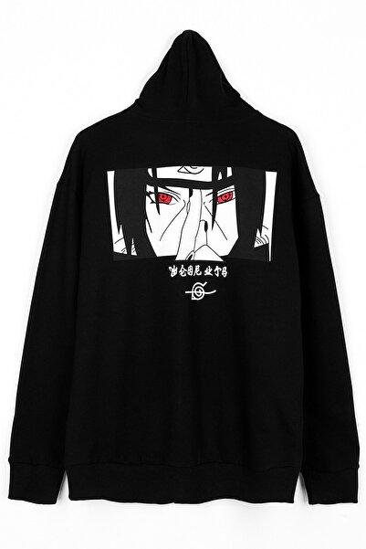 Sekizbiraltı Itachi Göz Detay Siyah Fermuarlı Unisex Sweatshirt