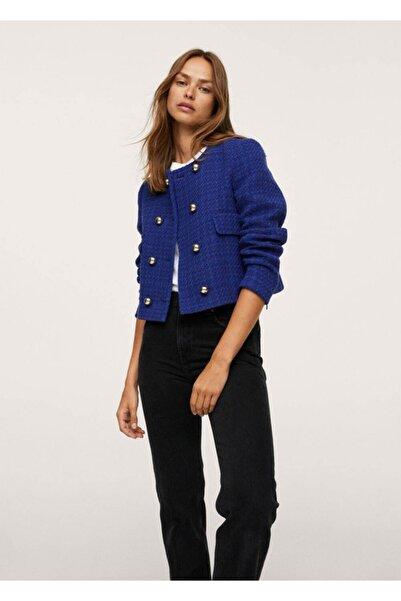 MANGO Woman Kadın Mavi Kısa Tüvit Ceket