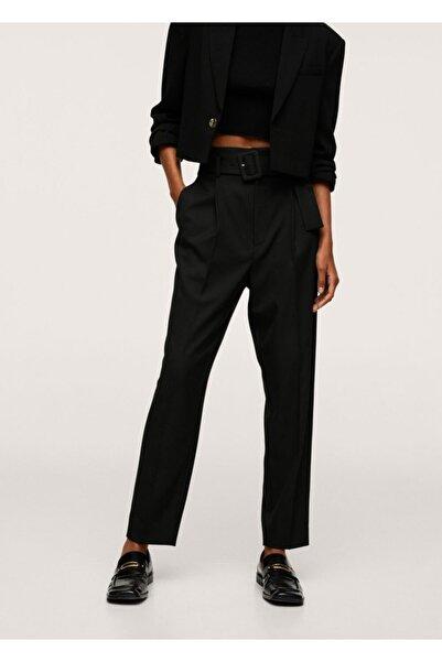 MANGO Woman Kadın Siyah Kemerli Düz Kesim Pantolon
