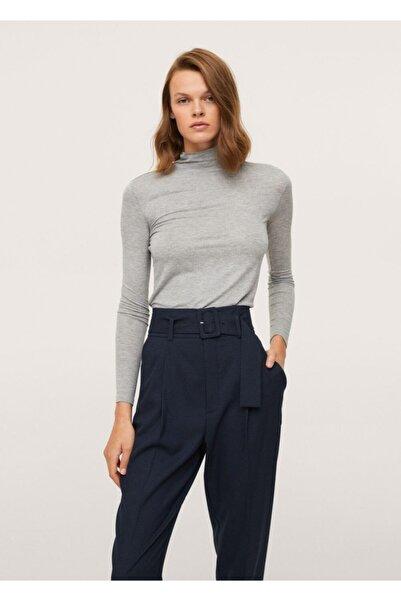 MANGO Woman Kadın Lacivert Kemerli Düz Kesim Pantolon