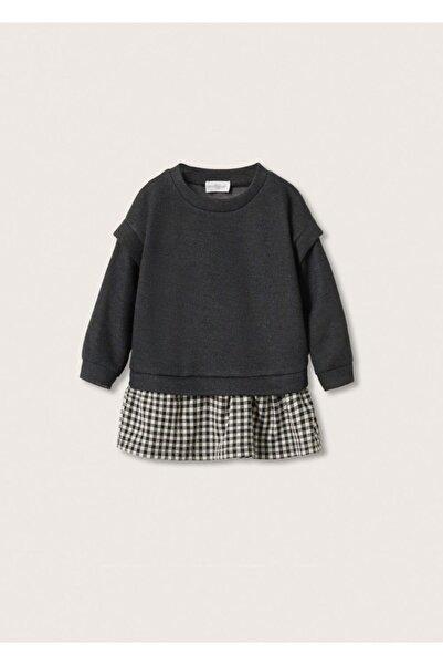 MANGO Baby Bebek Siyah Etek Ucu Kontrast Elbise