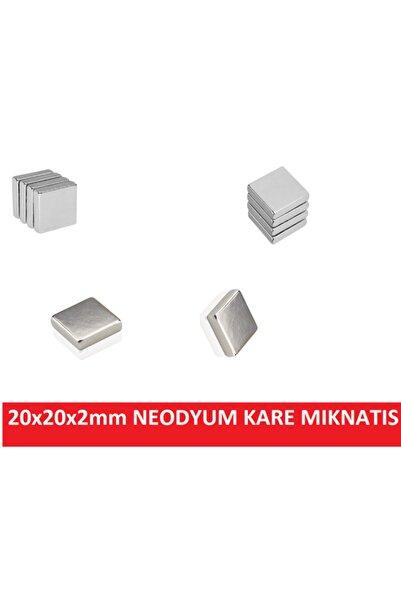 CEKSAN Süper Güçlü Neodyum Mıknatıs Magnet 20x20x2.5mm Kare 4 Adet