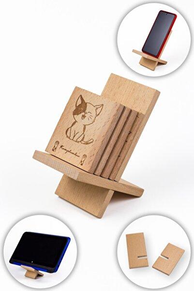 kamplumbaa Yavru Kedi Desen 4 Adet Termos, Çay Bardağı Altlığı + Bardaklık, Telefon, Tablet Standı 80 X 70mm