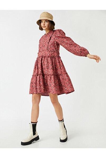 Koton Çiçekli Firfirli Elbise