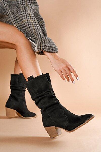 DİVOLYA Cortez Siyah Kovboy Topuklu Kadın Günlük Kullanım Çizme