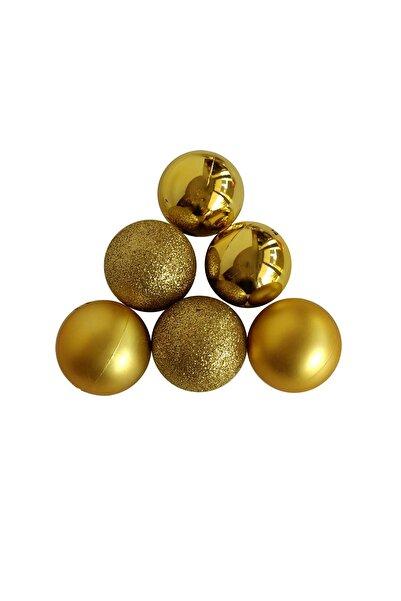 funworld Yılbaşı Yeni Yıl Süsü Çam Ağacı Süs Top 3,5 Cm 6'lı Altın