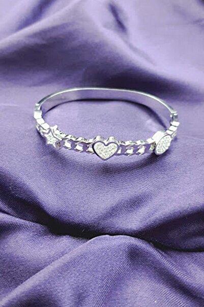 PETEK AKSESUAR Çelik Marka Model Kalp Yıldız Kelepçe Bileklik Silver