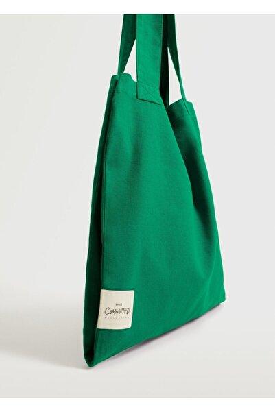 MANGO Woman Kadın Yeşil Pamuklu Shopper Çanta