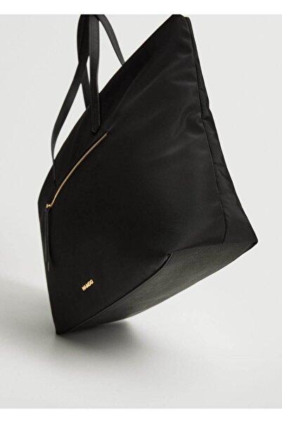 MANGO Woman Kadın Siyah Cepli Shopper Çanta