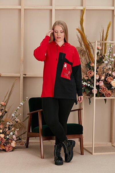 RMG Baskılı Ve Garnili Büyük Beden Kırmızı Sweatshirt